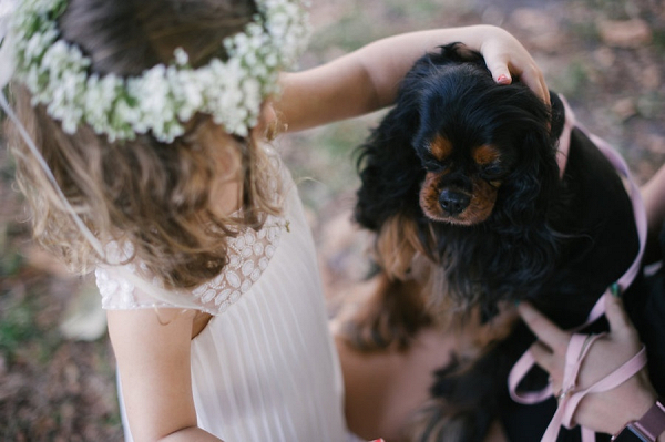 Flower girl with puppy