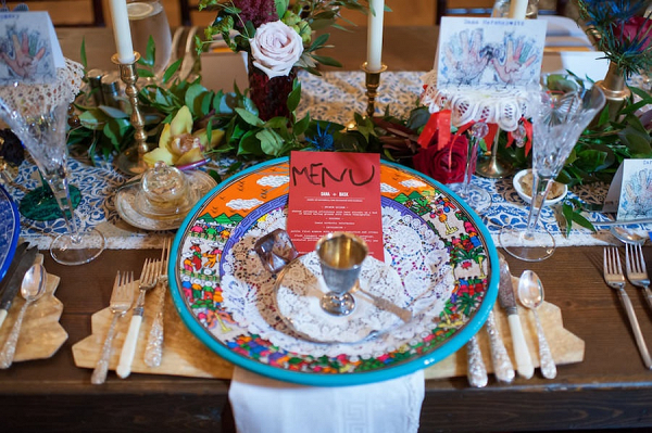 Colorful Moroccan inspired place setting