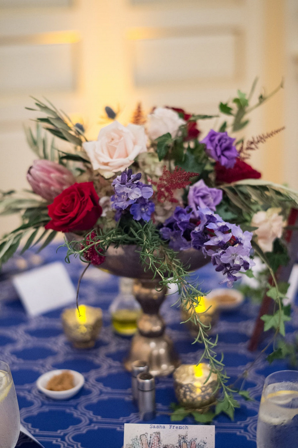 Red and purple centerpieces
