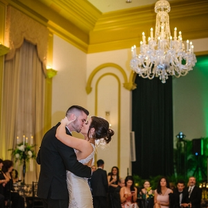 Bride and Groom First Dance Wedding Day Portrait at Tampa Wedding Reception Venue Palma Ceia Golf and Country Club | Martina Liana Ivory Satin Wedding Gown