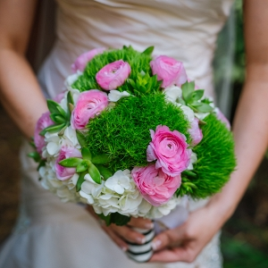 Bridal Wedding Portrait in Ivory Satin Martina Liana Wedding Dress with White and Pink Floral Wedding Bouquet with Greenery