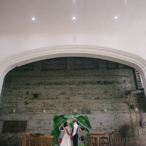 Eco-Friendly, Tropical, Carribean Wedding Arch of Palm Leaves | Rialto Theatre Modern Tampa Wedding Venue