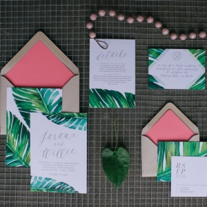 Custom Tropical Banana Leaf Invitation Suite by Tampa Wedding Invitation Designer Citrus Press Co.
