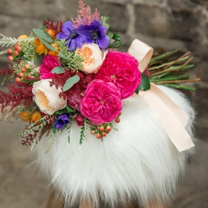 Colorful Pink and Purple Wedding Bouquet with Greenery