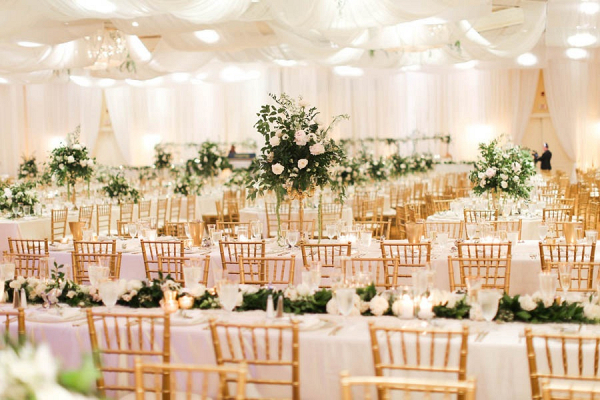 White and gold reception