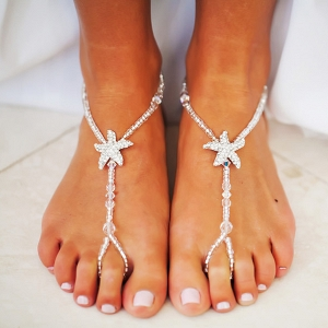 Beach Bridal Wedding Beaded Foot Jewelry with Starfish