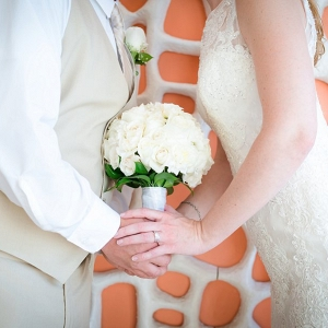 Destination Florida Bride and Groom Wedding Portrait Holding Hands with White Wedding Bouquet
