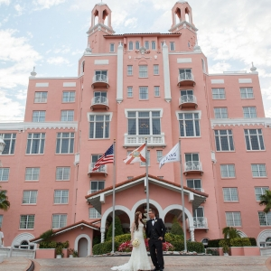 Destination Beach Bride and Groom Wedding Portrait | Outdoor St Pete Beach Wedding at Loews Don CeSar