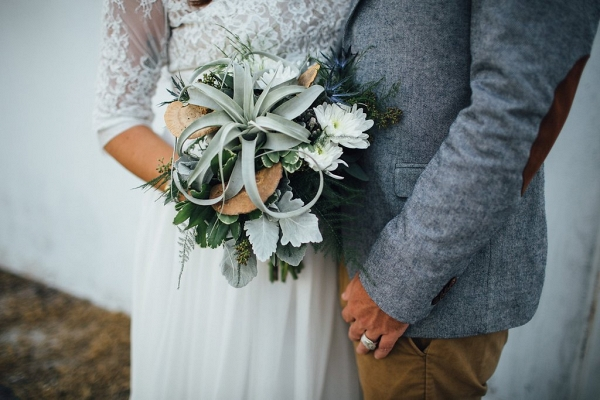 Tampa Bohemian-Nature Inspired Bride and Groom Wedding Portrait in Grey Suit and Lace, Wedding Dress and Headband with Succulent Bouquet