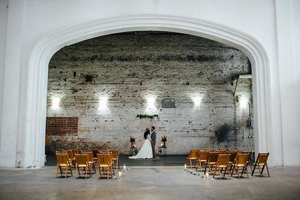 Indoor, Industrial Bohemian-Nature Inspired Wedding Ceremony