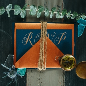 Nautical Inspired, Blue, Gold, and Orange Wedding Stationery