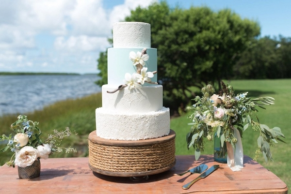 Four-Tier Custom Wedding Cake with Texture of Driftwood, Rope and Natural Elements