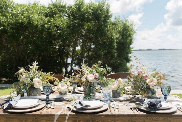 Coastal Inspired Wedding Place Setting Design with Pink and Greenery Centerpieces and Nautical Accents