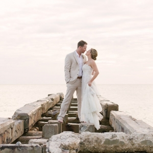 Florida Beach Bride and Groom Wedding Portrait