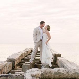 Florida Beach Bride and Groom Wedding Portrait