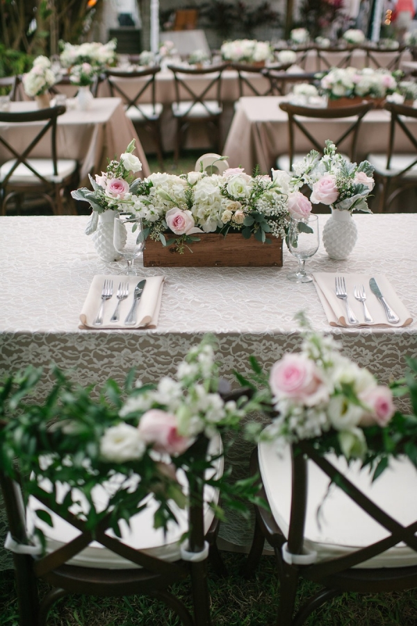 Pink and White Vintage Wedding Centerpiece