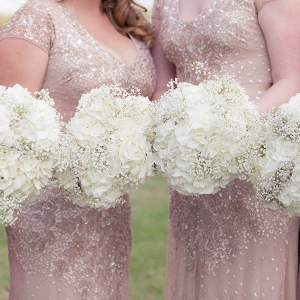 Blush Pink Sequined Adrianna Papell Bridesmaids Dresses with Ivory Wedding Bouquet of Flowers with Hydrangeas and Baby's Breath