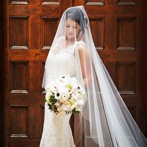 Bridal Wedding Portrait in Ivory, Lace Romona Keveza Wedding Dress