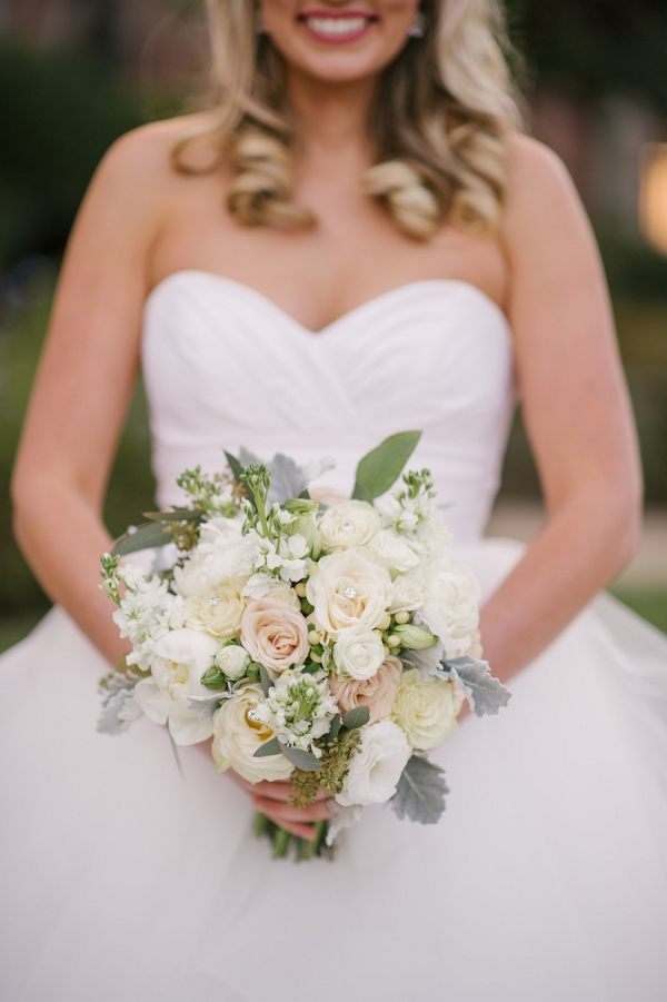 Bridal Wedding Portrait in White Strapless Sweetheart Hayley Paige Ballgown with Ivory, Pink and White Wedding Bouquet