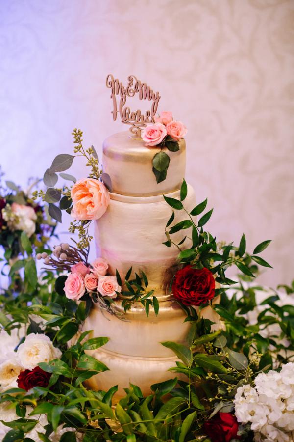 Gold painted wedding cake
