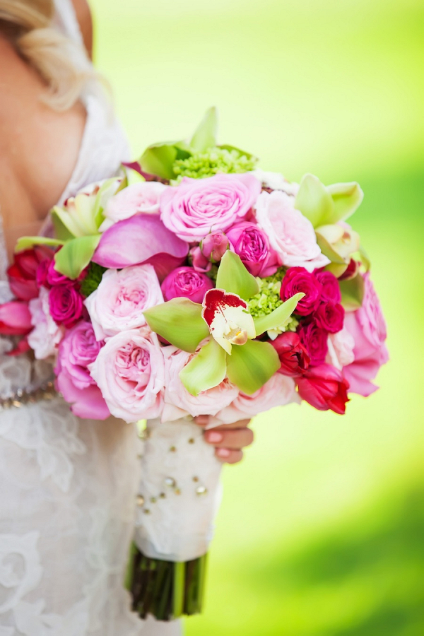 Pink and green bouquet on Marry Me Tampa Bay
