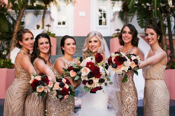 Glam gold bridesmaids