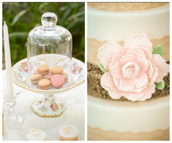 Wedding Reception Dessert Table with Blush and Gold Macarons on Vintage Serving Plate | Gumpaste Flower Detail on Burlap Ribbon Wedding Cake