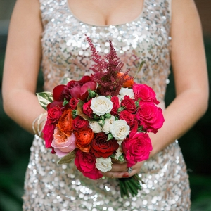 Red, White and Pink Wedding Bouquet with Sequined Bridesmaids Dresses