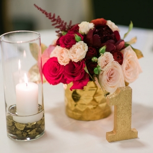 Pink and Red Wedding Centerpiece with Gold Glitter Table Number and Candles