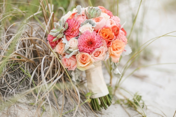 St. Pete Beach Wedding Ceremony Decor | Wooden, Twig Altar with Pink and Coral Flowers with Succulents