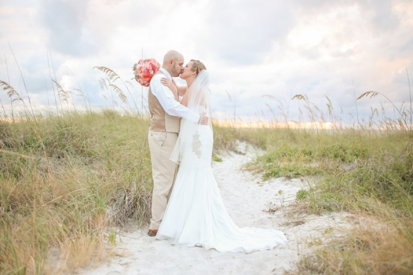 St. Pete Beach Bride and Groom, Waterfront Wedding Portrait