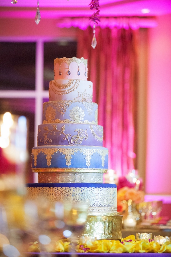 Purple and Blue Ombre Wedding Cake | Indian Wedding Reception