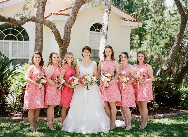 Coral bridesmaids