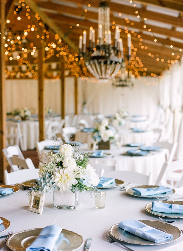 Wedding Reception Tablescape with Champagne Gold Charger Plates and Light Blue Linen Napkins with Low White and Light Blue Hydrangea Centerpieces