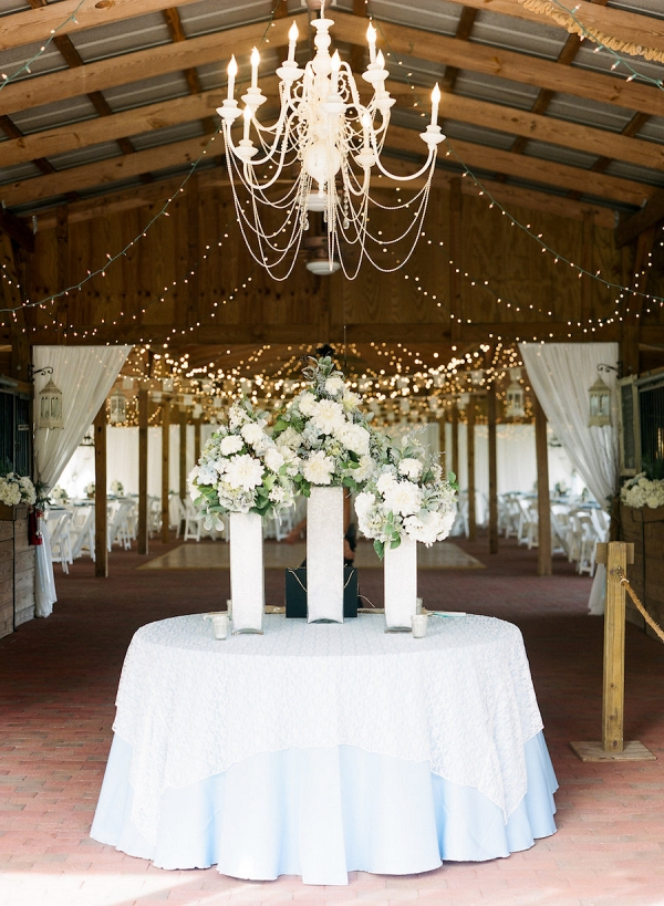 Elegant Rustic Outdoor Wedding Reception with Chandelier and Cafe Lighting