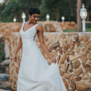 Bride in v-neck dress