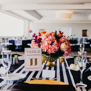 Modern black and white reception space