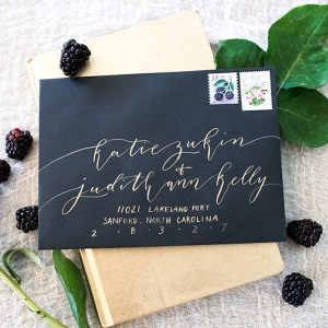 Handwritten Gold Calligraphy on Black Envelope | Modern Wedding Invitation and Stationery