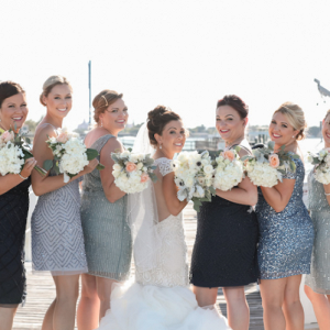 Silver and navy bridal party