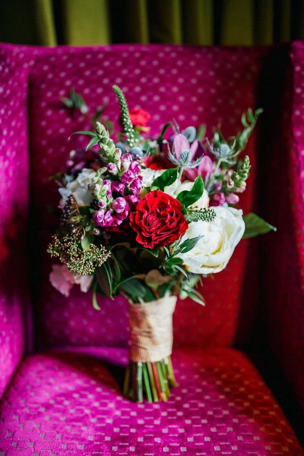 Wild Red and Pink Wedding Bouquet with Greenery