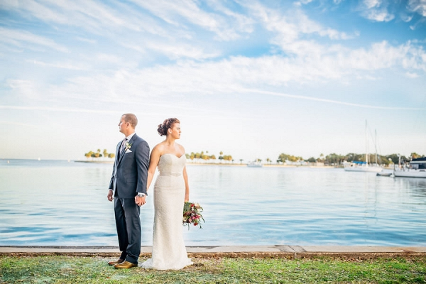 Bride and Groom Waterfront Wedding Portraits