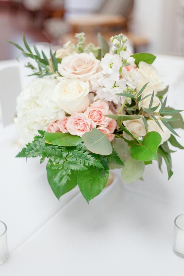 Peach wedding centerpiece
