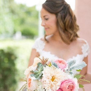 Bridal Wedding Day Portrait with Pastel Wedding Bouquet