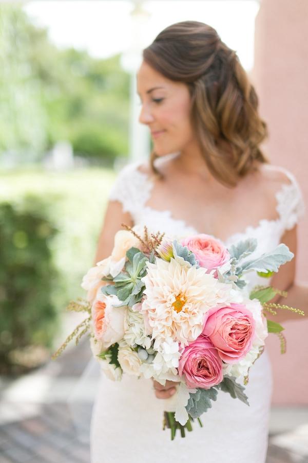 Bridal Wedding Day Portrait with Pastel Wedding Bouquet