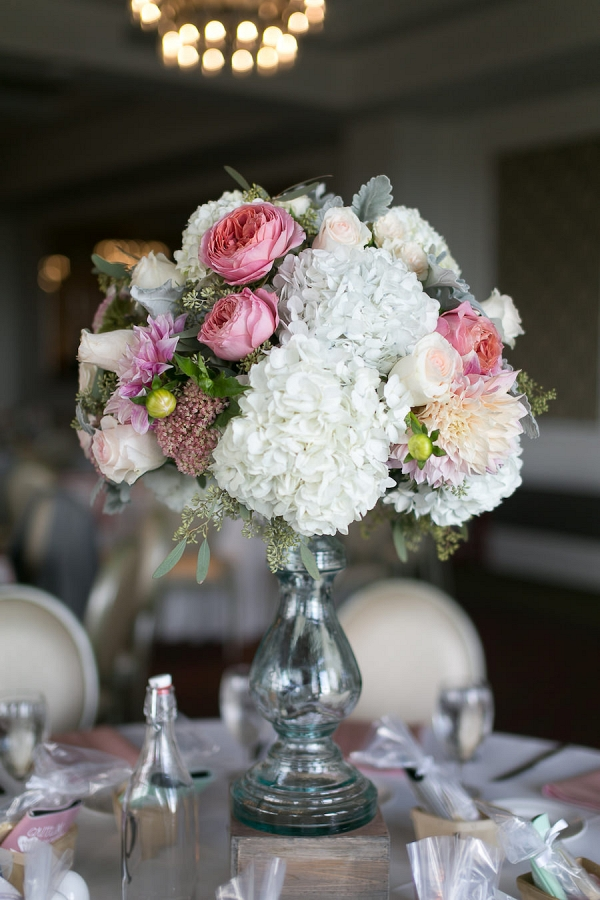 Wedding Reception Centerpieces with White Hydrangeas and Light Pink and Rose Pink Flowers and Glass Vase