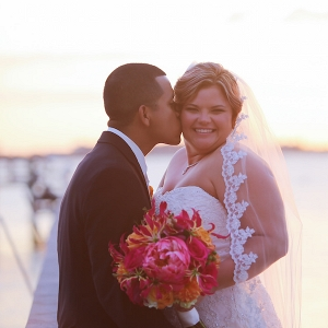 Sunset Wedding Portrait with Fuchsia and Orange Bouquet