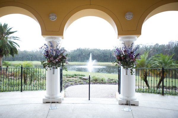 Purple and Pink Floral Outdoor Wedding Ceremony Decor