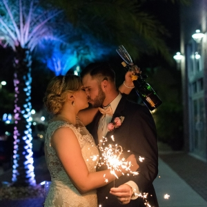 Outdoor, Nighttime Wedding Portrait with Sparkler | St. Pete Wedding Venue NOVA 535 | St. Petersburg Wedding Photographer Caroline & Evan Photography