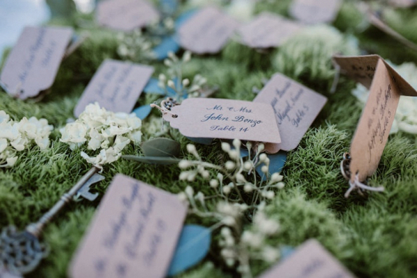 Vintage key escort cards
