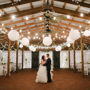 Dancing under string lights